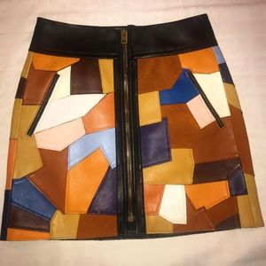 Coach Multicolored Patchwork Leather Miniskirt
